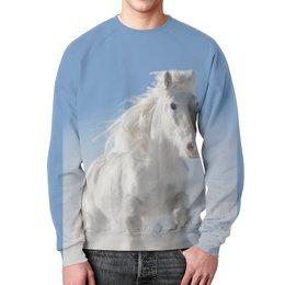 """Свитшот мужской с полной запечаткой """"Лошадь"""" - лошадь, фотография, животное, конь"""