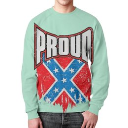 "Свитшот мужской с полной запечаткой ""Флаг Конфедерации США"" - америка, флаг, сша, флаг конфедерации, proud"