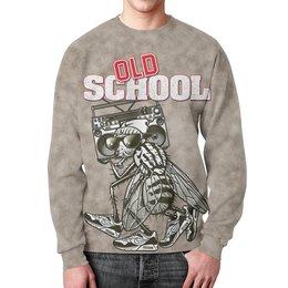 "Свитшот унисекс с полной запечаткой ""Old School Art"" - old school, старая школа, муха, магнитофон, арт прикол"
