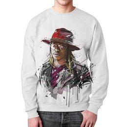 """Свитшот мужской с полной запечаткой """"Человек в шляпе"""" - арт, очки, человек, шляпа, куртка"""