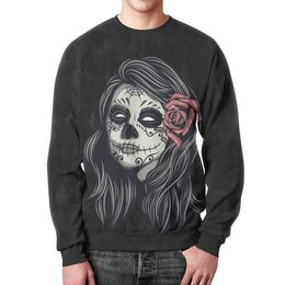 """Свитшот мужской с полной запечаткой """"Dia de los muertos"""" - цветы, роза, орнамент, muertos, девушка орнамент"""