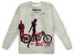"Свитшот унисекс с полной запечаткой ""Bonneville. The Hell Cat"" - bike, caferacers, custom, bonneville"