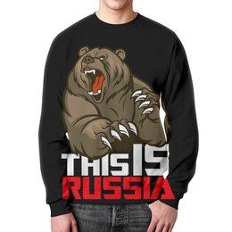 """Свитшот мужской с полной запечаткой """"This is Russia (Это Россия)"""" - медведь, россия, russia, это россия, патриотический принт"""
