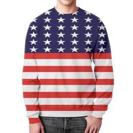 """Свитшот мужской с полной запечаткой """"Америка"""" - звезды, америка, полосы, флаг, линии"""