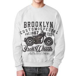 """Свитшот унисекс с полной запечаткой """"Brooklyn Bike"""" - мото, мотоциклы, байкеры, баки"""