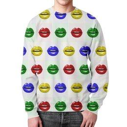 """Свитшот унисекс с полной запечаткой """"Цветные губы"""" - губы, поп-арт, улыбка, краски, помада"""