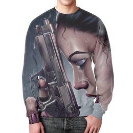 """Свитшот мужской с полной запечаткой """"Лара Крофт (Tomb Raider)"""" - пистолет, девушка"""