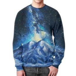 """Свитшот унисекс с полной запечаткой """"Космос над Эльбрусом"""" - звезды, кавказ, космос, горы, иллюстрация"""