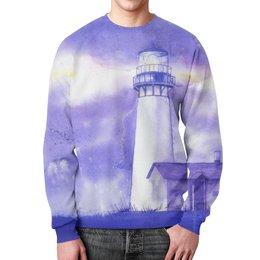 """Свитшот унисекс с полной запечаткой """"Фиолетовый маяк"""" - звезды, космос, фиолетовый, небо, маяк"""
