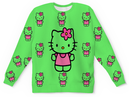 """Свитшот унисекс с полной запечаткой """"кити.кошка девочка. цветочек .любимая. """" - kitty, кити"""