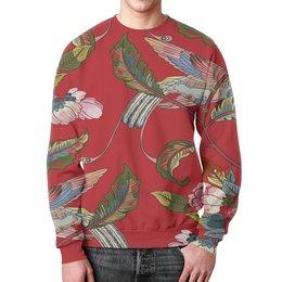 """Свитшот мужской с полной запечаткой """"Природа"""" - цветы, птица, весна, природа, птички"""