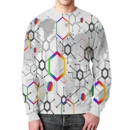 """Свитшот мужской с полной запечаткой """"Формула"""" - узор, текстура, формула, химия, молекулы"""