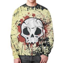 """Свитшот мужской с полной запечаткой """"Grunge Skull"""" - skull, череп, гранж, хэллоуин, хардкор"""