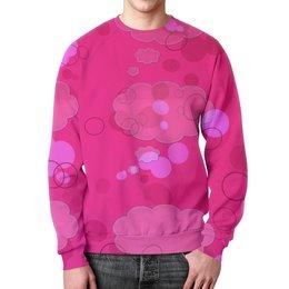 """Свитшот унисекс с полной запечаткой """"Pink pink"""" - узор, ярко, розовый, кружки, облачка"""