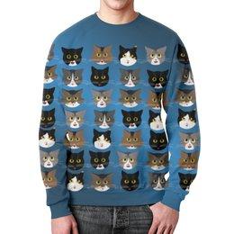 """Свитшот мужской с полной запечаткой """"Котиков много не бывает"""" - кот, котэ, котик, свитошот с котиком, много котиков"""