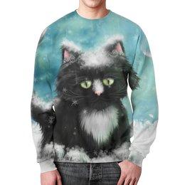 """Свитшот мужской с полной запечаткой """"Зимний Кот"""" - животные, кошки, коты, котики"""