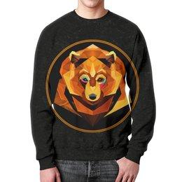 """Свитшот унисекс с полной запечаткой """"Bear face"""" - bear, медведь, россия, огненный, bear art"""