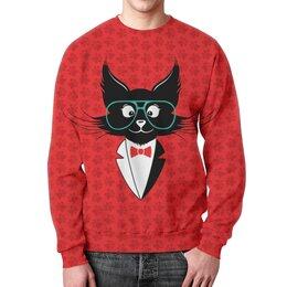 """Свитшот мужской с полной запечаткой """"кот стиляга"""" - кот, стильный, модный, ученый"""