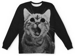 """Свитшот унисекс с полной запечаткой """"Кот с крестом"""" - кот, крест, коты"""