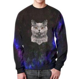 """Свитшот мужской с полной запечаткой """"Котенок"""" - кот, звезды, котенок, космос, коты в космосе"""