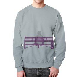 """Свитшот унисекс с полной запечаткой """"Человек на скамейке"""" - зима, человек, снег, shirt, скамейка"""