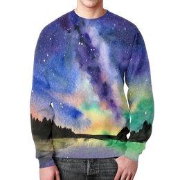 """Свитшот мужской с полной запечаткой """"Природа"""" - звезды, небо, краски, природа, пейзаж"""