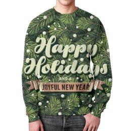 """Свитшот мужской с полной запечаткой """"С новым годом! (Happy New Year)"""" - новый год, снег, new year, ёлка, нг"""