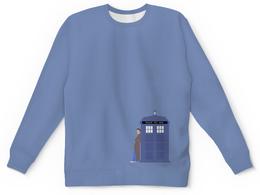 "Свитшот унисекс с полной запечаткой ""Доктор Кто и ТАРДИС / Doctor Who & TARDIS"" - doctor who, tardis, доктор кто, тардис, дэвид теннант"