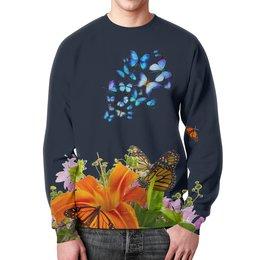 """Свитшот унисекс с полной запечаткой """"Бабочка"""" - бабочки, цветы, яркий, красивый"""