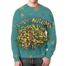 """Свитшот унисекс с полной запечаткой """"Я люблю Осень"""" - листья, осень, дерево, я люблю, бирюзовый"""