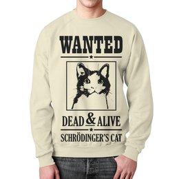 """Свитшот мужской с полной запечаткой """"Кот Шрёдингера"""" - прикольные, коты, наука, кот шрёдингера"""