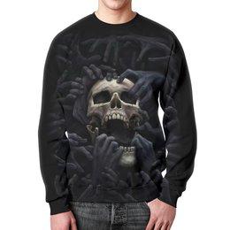 """Свитшот унисекс с полной запечаткой """"Skull Art"""" - skull, череп, руки, тьма, зло"""
