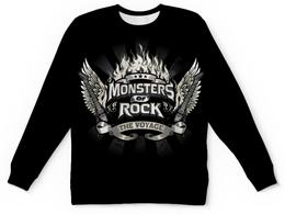 """Свитшот унисекс с полной запечаткой """"Monsters Of Rock"""" - monsters of rock, rock music, guitar, монстры рока, гитара"""