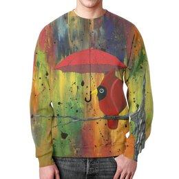 """Свитшот мужской с полной запечаткой """"На ветке под зонтом"""" - дождь, абстрактный, птица кардинал, птица с зонтом, свитер с рисунком"""