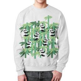 """Свитшот унисекс с полной запечаткой """"Жизнь панд"""" - смешные, узор, панда, лес, бамбук"""