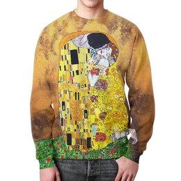 """Свитшот мужской с полной запечаткой """" Поцелуй(Gustav Klimt)"""" - любовь, творчество, поцелуй, густав климт, объятия"""