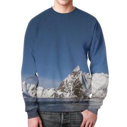 """Свитшот унисекс с полной запечаткой """"Север"""" - снег, горы, океан, север, льды"""