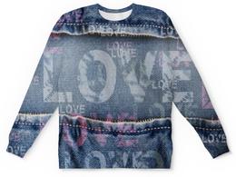 """Свитшот унисекс с полной запечаткой """"""""LOVE"""""""" - джинсовые сердца, буквы, амор, надпись, new"""