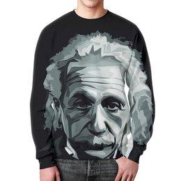 """Свитшот мужской с полной запечаткой """"Альберт Эйнштейн"""" - наука, физика, ученый, ломоносов, теория относительности"""