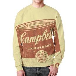 """Свитшот унисекс с полной запечаткой """"Банка с супом Кэмпбелл"""" - арт, поп арт, энди уорхол, суп кэмпбелл, campbells soup can"""
