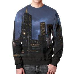 """Свитшот мужской с полной запечаткой """"Город"""" - город, здания, огни, вечер, мегаполис"""