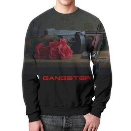 """Свитшот унисекс с полной запечаткой """"Gangster"""" - арт, дизайн, автомат, gangster"""