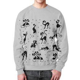 """Свитшот мужской с полной запечаткой """"Кошки"""" - рисунок, кошки, графика, минимализм"""