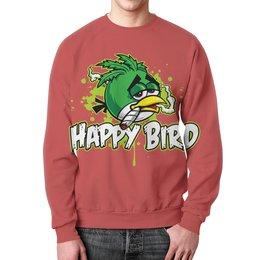 """Свитшот мужской с полной запечаткой """"Happy Bird"""" - пародия, черный юмор, angry birds"""