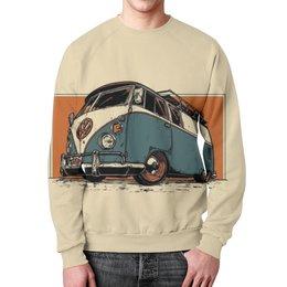 """Свитшот мужской с полной запечаткой """"Volkswagen T1"""" - винтаж, минимализм, фургон, volkswagen t1, минивэн"""