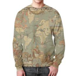 """Свитшот мужской с полной запечаткой """"Карта мира 1886"""" - карта, map"""