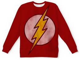 "Свитшот унисекс с полной запечаткой ""Флэш (Flash)"" - flash, комиксы, молния, вспышка, флэш"
