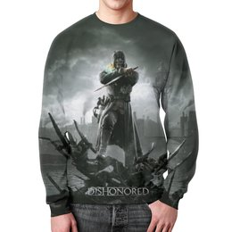 "Свитшот мужской с полной запечаткой ""Dishonored"" - игры, dishonored, дишоноред"