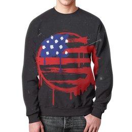 "Свитшот мужской с полной запечаткой ""American Flag (Американский флаг)"" - америка, usa, флаг, сша, flag"