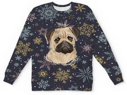 """Свитшот унисекс с полной запечаткой """"Мопс и снежинки"""" - собака, животные, мопс, снежинки, щенок"""